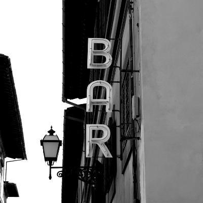 Black and White Neon Lights Spelling BAR in the Street-Robin Nieuwenkamp-Photographic Print