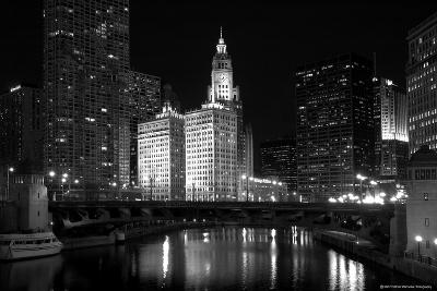 Black And White Of Chicago River-Patrick Warneka-Photographic Print