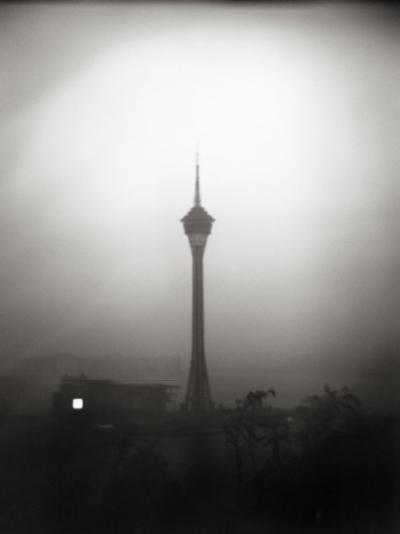 Black and White Portrait of the The Tv Tower of Macau-xPacifica-Photographic Print