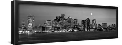 Black and White Skyline at Night, Boston, Massachusetts, USA--Framed Photographic Print