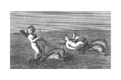 Black and White Textured Illustration of Cherubs Riding Dolphins--Art Print