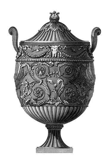 Black and White Urn III--Art Print