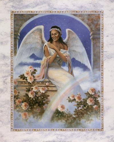 Black Angel with Rainbow-T^ C^ Chiu-Art Print