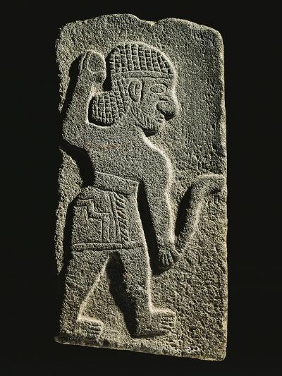 Black Basalt Stela Depicting an Aramaic Warrior--Giclee Print