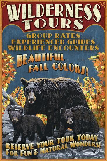 Black Bear Family - Vintage Sign-Lantern Press-Art Print