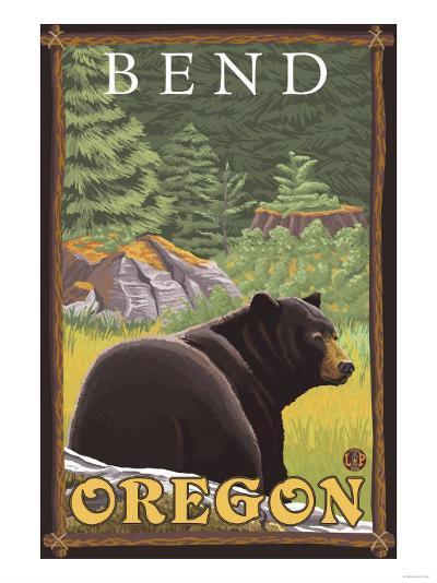 Black Bear in Forest, Bend, Oregon-Lantern Press-Art Print