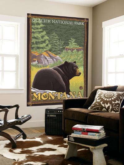 Black Bear in Forest, Glacier National Park, Montana-Lantern Press-Wall Mural