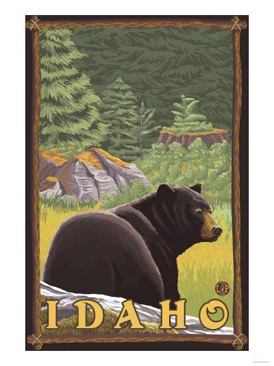 Black Bear in Forest, Idaho-Lantern Press-Art Print