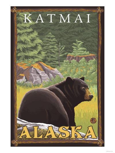 Black Bear in Forest, Katmai, Alaska-Lantern Press-Art Print