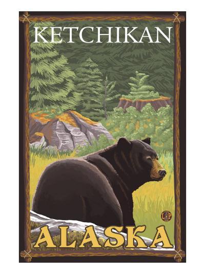 Black Bear in Forest, Ketchikan, Alaska-Lantern Press-Art Print