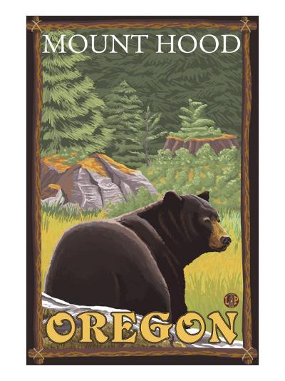 Black Bear in Forest, Mount Hood, Oregon-Lantern Press-Art Print