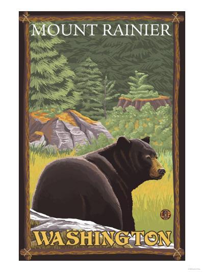 Black Bear in Forest, Mount Rainier, Washington-Lantern Press-Art Print