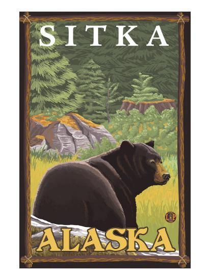 Black Bear in Forest, Sitka, Alaska-Lantern Press-Art Print