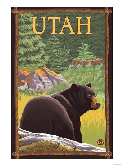 Black Bear in Forest - Utah-Lantern Press-Art Print