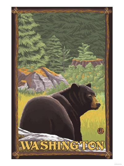 Black Bear in Forest, Washington-Lantern Press-Art Print