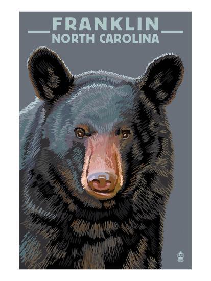 Black Bear Up Close - Franklin, North Carolina-Lantern Press-Art Print
