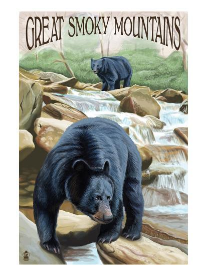 Black Bears Fishing - Great Smoky Mountains-Lantern Press-Art Print