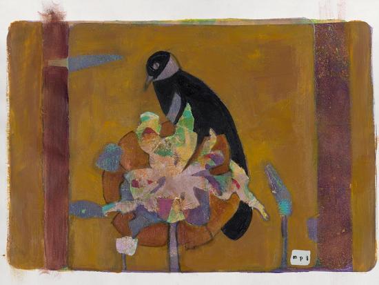 Black Bird on Bronzed Flower 10-Maria Pietri Lalor-Giclee Print