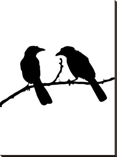 Black Bird-Jetty Printables-Stretched Canvas Print