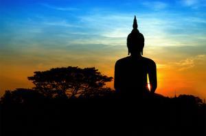 Black Buddha Silhouette atDusk