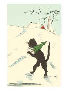 Black Cartoon Cat with Small Christmas Tree