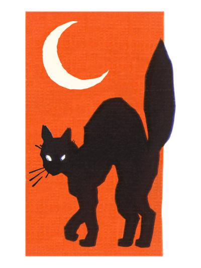 Black Cat and Moon--Art Print