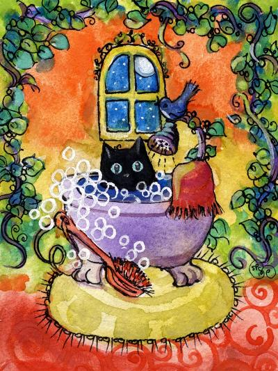Black Cat Bath-sylvia pimental-Art Print