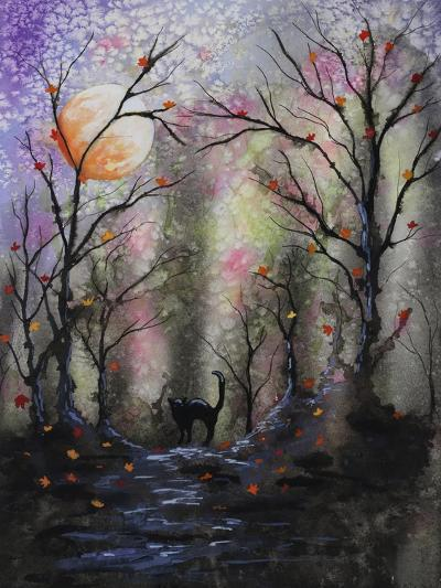 Black Cat in Forest-Michelle Faber-Giclee Print