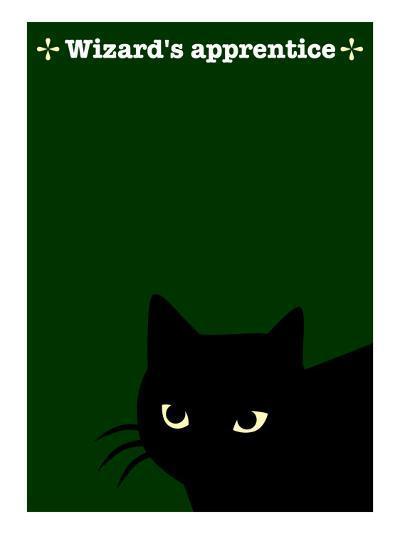 Black Cat in Green-Ikuko Kowada-Giclee Print