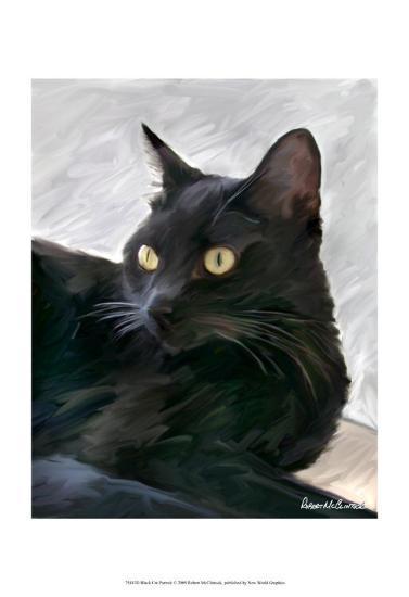 Black Cat Portrait-Robert Mcclintock-Art Print