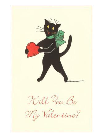 Black Cat with Heart--Framed Art Print
