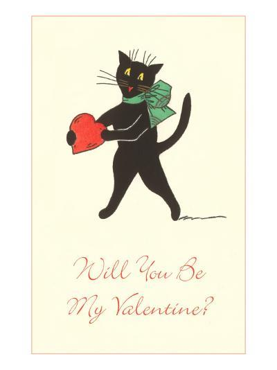Black Cat with Heart--Art Print