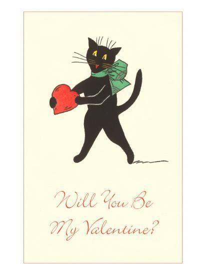 Black Cat with Heart--Art Print