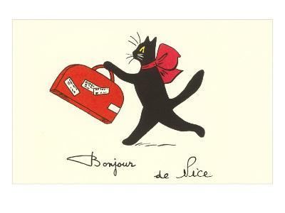 Black Cat with Suitcase, French Greetings from Nice--Art Print