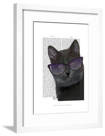 Black Cat with Sunglasses-Fab Funky-Framed Art Print
