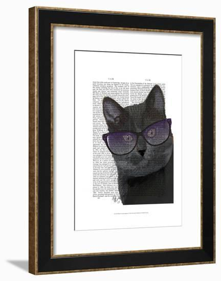 Black Cat with Sunglasses-Fab Funky-Framed Art Print