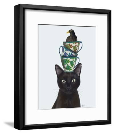 Black Cat with Teacups and Blackbird-Fab Funky-Framed Art Print