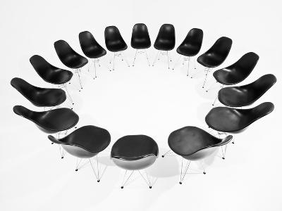 Black Chairs In A Circle Isolated On White Background-gemenacom-Art Print