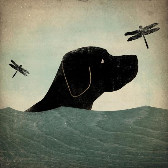 Black Dog Swim-Ryan Fowler-Art Print