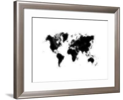 Black Dotted World Map-NaxArt-Framed Art Print