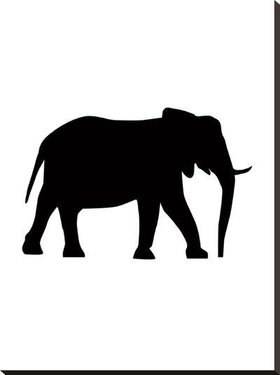 Black Elephant-Jetty Printables-Stretched Canvas Print