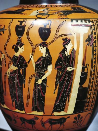 Black-Figure Pottery, Attic Hydria, Detail with Women Drawing Water from Fountain--Giclee Print