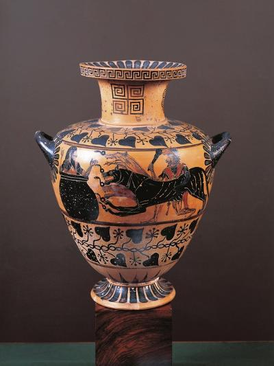 Black-Figure Pottery, Hydria Depicting Heracles Arriving in Hades Leading Cerberus--Giclee Print