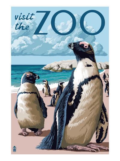 Black Footed Penguins - Visit the Zoo-Lantern Press-Art Print