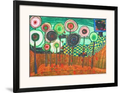Black Girl, Discovery in the Kingdom of the Toros-Friedensreich Hundertwasser-Framed Art Print