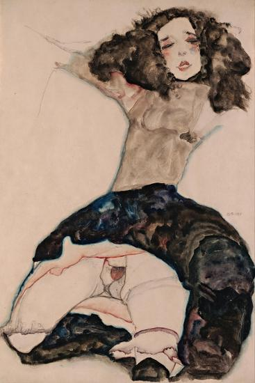 Black-Haired Girl with Lifted Skirt, 1911-Egon Schiele-Giclee Print