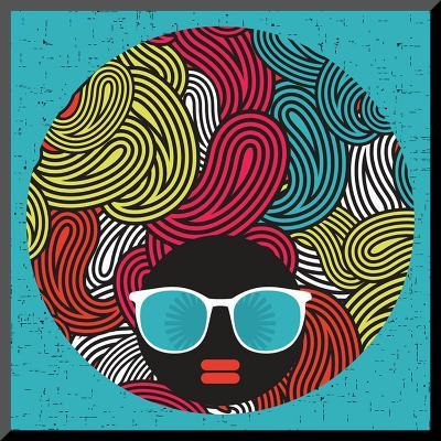 Black Head Woman With Strange Pattern Hair-panova-Mounted Print