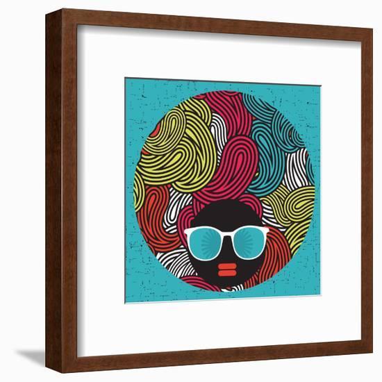 Black Head Woman With Strange Pattern Hair-panova-Framed Premium Giclee Print