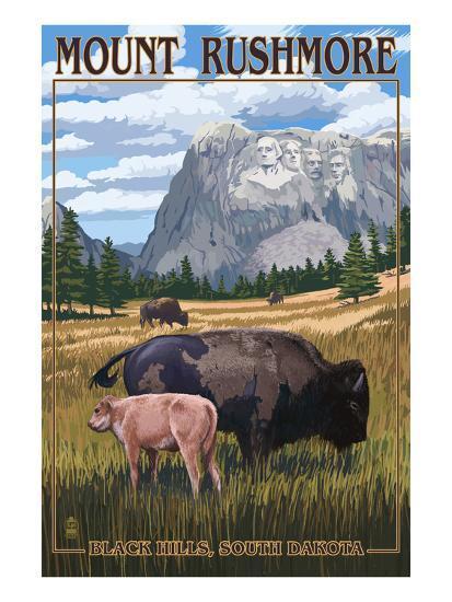 Black Hills, South Dakota - Bison Grazing-Lantern Press-Art Print