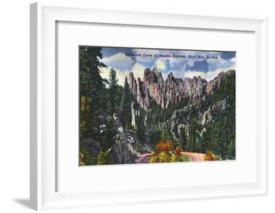 Black Hills, South Dakota, Needles Highway View of Horseshoe Curve-Lantern Press-Framed Art Print